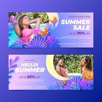 현실적인 여름 판매 배너 사진 설정