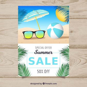 Realistic summer sale flyer