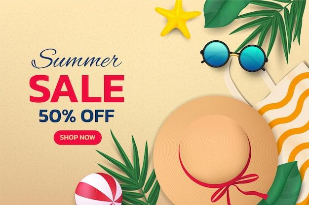 Realistic summer sale illustration