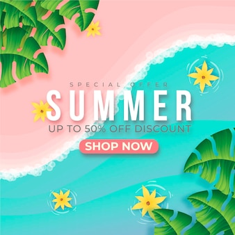 Realistic summer sale with beach sand and water