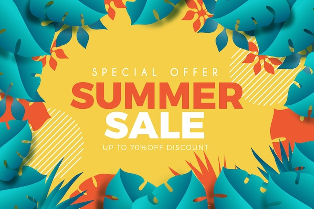 Realistic summer sale with foliage