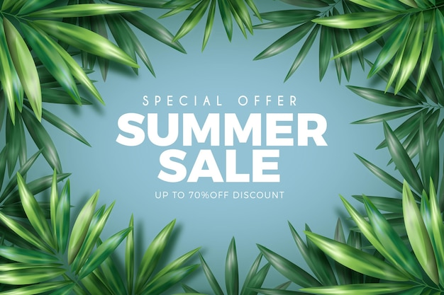 Realistic summer sale with leaves
