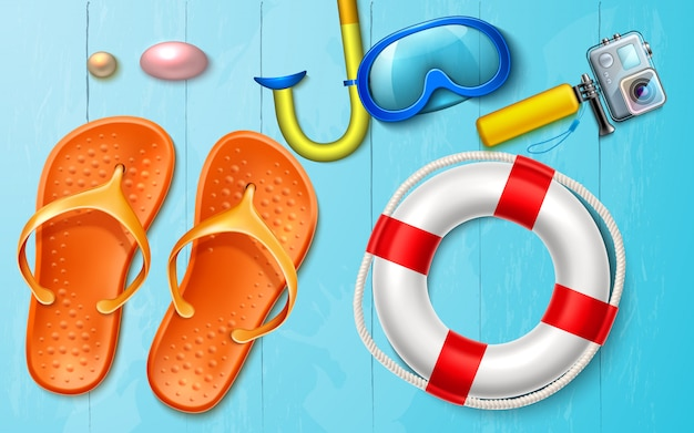 Realistic summer sea vacation snorkel camera flops on wooden background