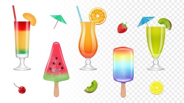 リアルな夏のお菓子。フレッシュジュース、カクテル、アイスクリーム。漫画フラットイラスト