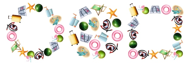 Realistic summer symbols set. collection of realism style drawn travel suitcases starfish scuba diving masks watermelon cocktail on round square shapes on white background. summertime recreation.