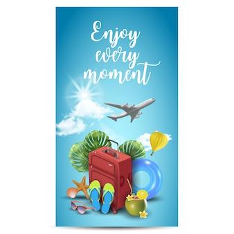 여름 아이템 여행을위한 현실적인 여름 휴가 디자인. 여행 견적 .. 일러스트