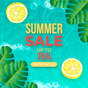 現実的な夏の水とレモンの半分