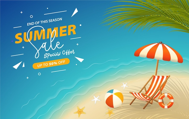 Realistic summertime banner with beachside view