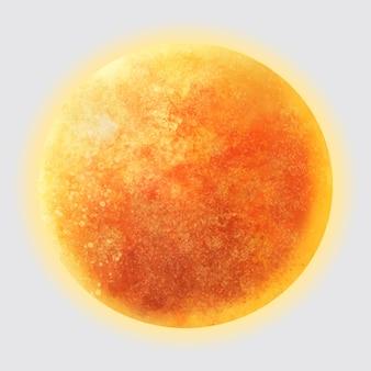 Vettore realistico dell'elemento del sole in sfondo grigio