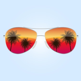 Realistic sun glasses with palm tree icon.
