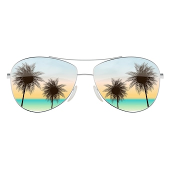 Realistic sun glasses with palm tree