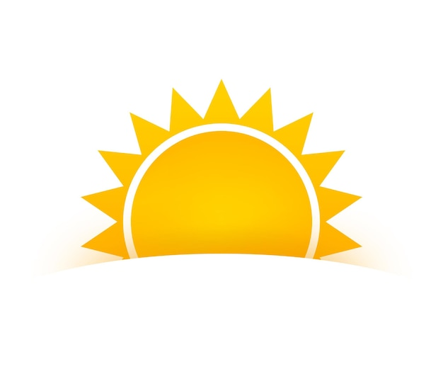 Realistic sun icon for weather design on white background.
