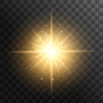 Realistic sun rays. yellow sun ray glow abstract shine light effect starburst sun beam sunshine glowing isolated.