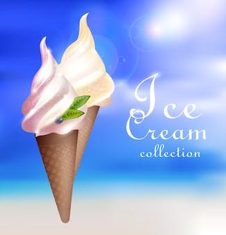 Realistic sundae ice cream concept