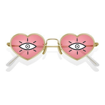 Realistic sunglass with colored frames with shape of hearts