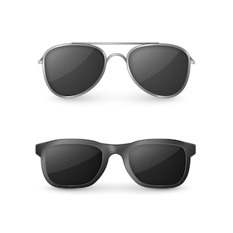 Realistic sunglasses front view illustration