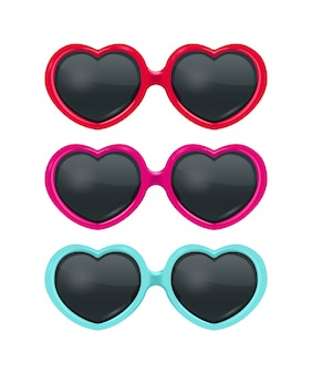 Realistic sunglasses heart collection