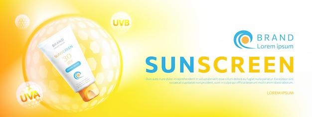 Реалистичное промо солнцезащитного крема Бесплатные векторы