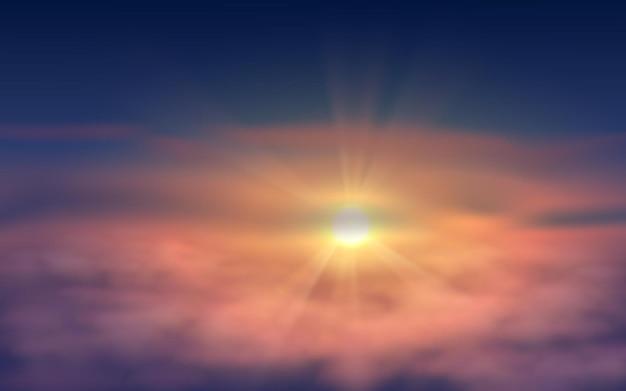 햇빛으로 현실적인 일몰 하늘 그림