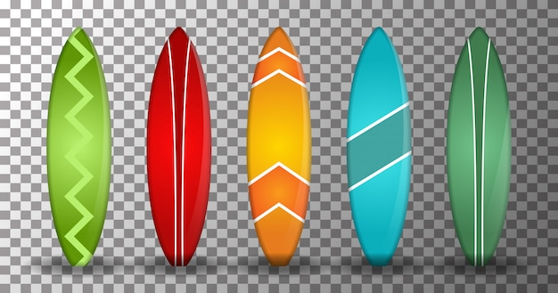 Realistic surfboard with several shapes and colors on a transparent background. isolated design