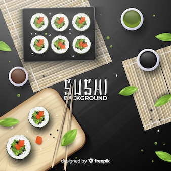 Realistic sushi background