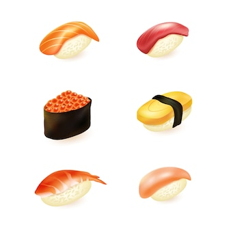 Realistic sushi collection