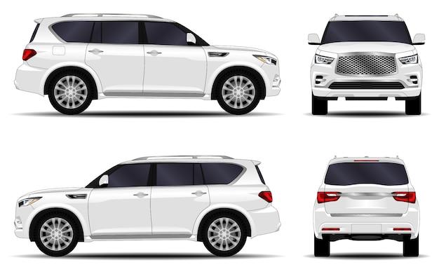 リアルなsuv車。正面図;側面図;背面図。