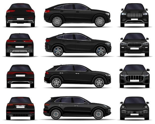 Realistic suv cars set. front view; side view; back view.