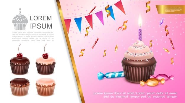 Реалистичная концепция сладкого дня рождения с праздничным кексом, горящей свечой, гирляндой, конфетами и иллюстрацией конфетти
