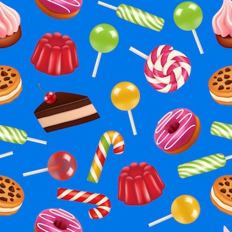Realistic sweet candy pattern or illustration