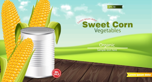 Realistic sweet corn metal tin mockup