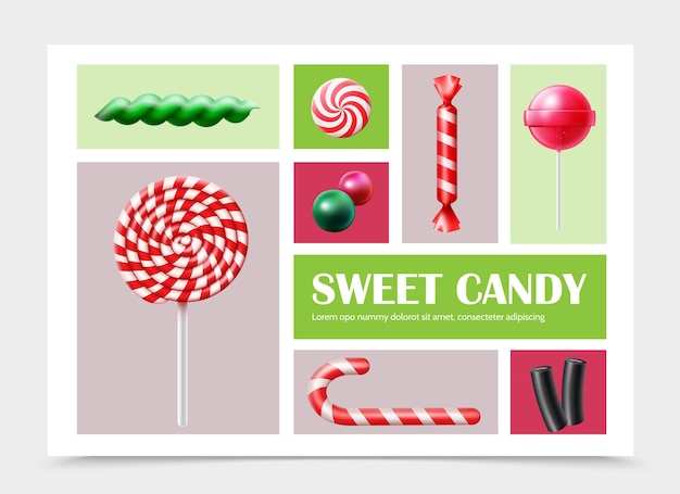 Realistic sweet products set with colorful lollipop candy cane gums and licorice  illustration