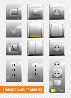 Realistic switches and sockets