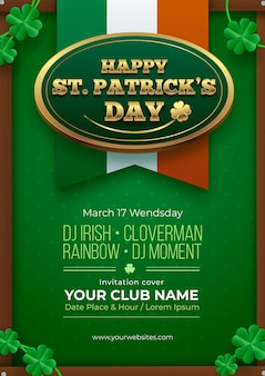 Realistic t. patrick's day vertical poster template