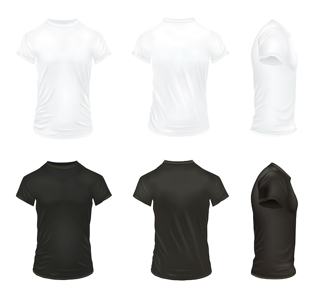 Realistic t shirt isolated illustration set
