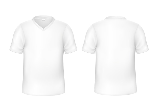 현실적인 티셔츠 흰색 전면 및 후면보기 세트 프리미엄 벡터