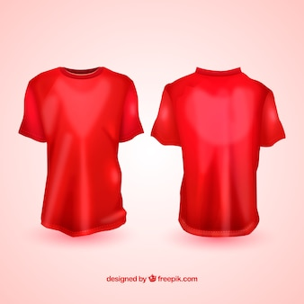 Realistic t-shirts in different views