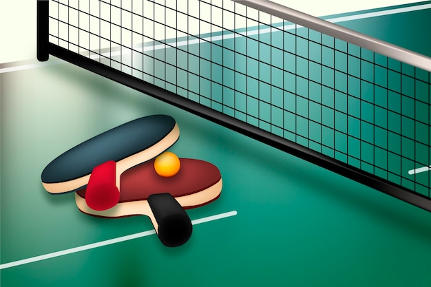 Realistic table tennis background theme