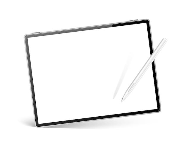 디지털 아트 및 스케치 모형에 대한 흰색 펜으로 현실적인 태블릿 컴퓨터. 스타일러스 패드가있는 빈 태블릿 pc. 터치 스크린이있는 모바일 가제트. 멀티미디어 용 빈 화면 디지털 장치.