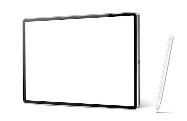 Реалистичный планшетный компьютер с белой ручкой