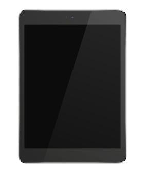 검은 화면이 흰색 배경에 고립 된 현실적인 태블릿 pc 컴퓨터
