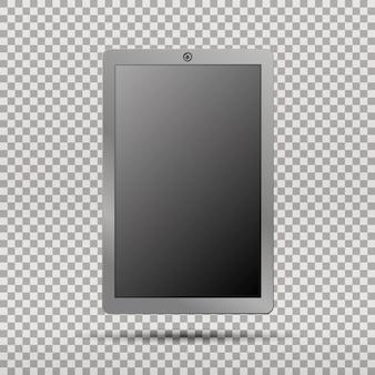 투명에 빈 화면이 있는 현실적인 태블릿 pc 컴퓨터