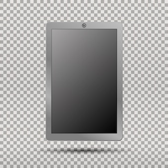 Realistic tablet pc computer with blank screen on transparent