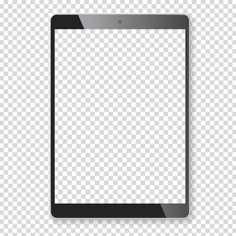 체크 무늬 배경에 현실적인 태블릿 휴대용 컴퓨터 모형