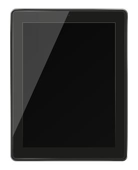 검은 화면이 흰색 절연 현실적인 태블릿
