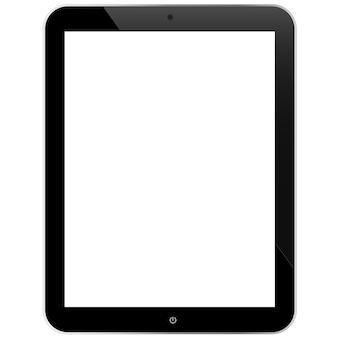 흰색 배경에 고립 된 빈 화면으로 현실적인 태블릿