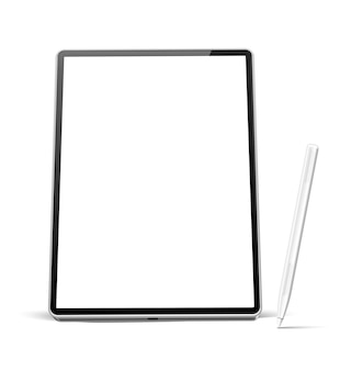 Realistic tablet with white pen for digital art empty screen device with stylus