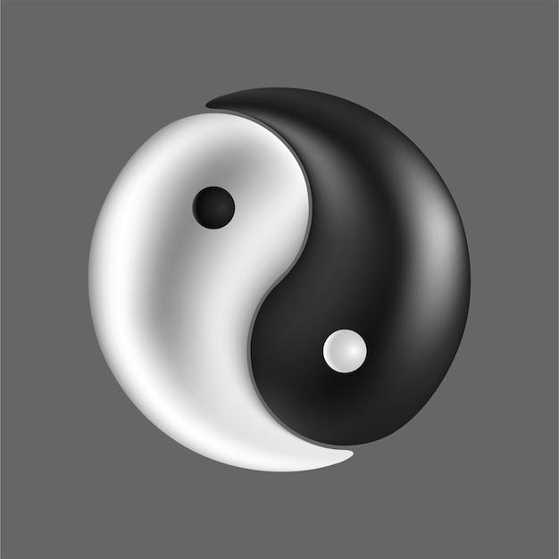 リアルな太極図のシンボル黒と白の陰陽。
