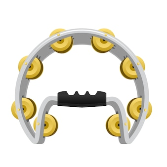 Realistic tambourine  on white background