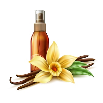 Realistic tanning oil in bronze spray bottle